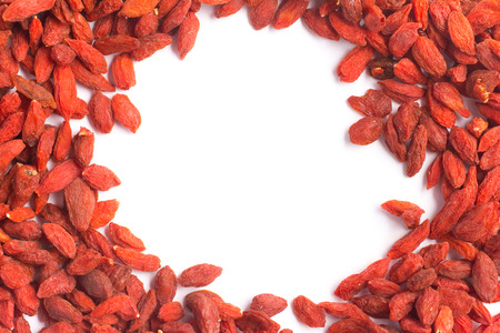 chinese wolfberry: Goji Berry Frame in white background