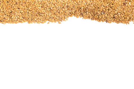 linseed: Gold linseed Frame in white background Stock Photo