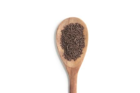 chocolate sprinkles: Chocolate Vermicelli. Chocolate Sprinkles on white background Stock Photo