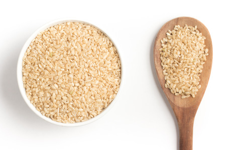 Wholegrains Cateto Rice. Integral isolated on white background Stock Photo