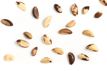 Brazilian Nuts Close-up photo. Castanha do Para isolated on white background Stock Photo