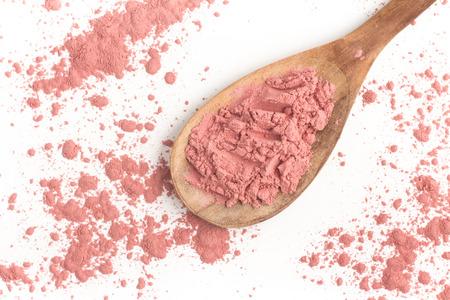 pink powder: Brazilian Acai Powder. Pink Powder isolated on white background Stock Photo