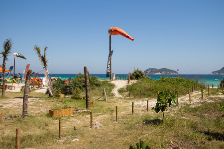 Pepe Beach. Kite Surf Place in Rio de Janeiro, Brazil Editorial