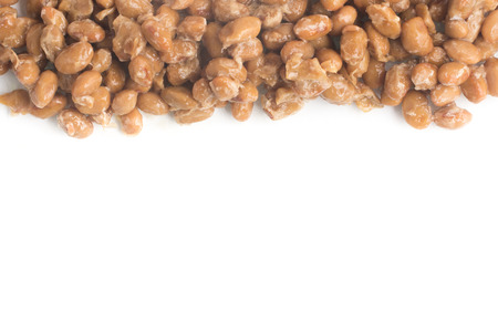 Natto. Fermented soybeans frame isolated on white background