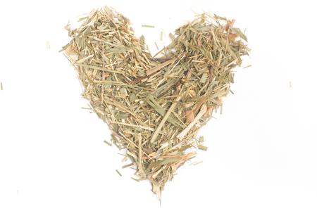 lemongrass tea: Lemon Grass heart shaped isolated on white background Stock Photo