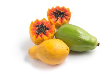 Fresh Mamao Papaya isolated on white background Stock Photo
