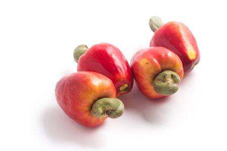 Cashews or Caju Fruit isolated on white background Stock Photo