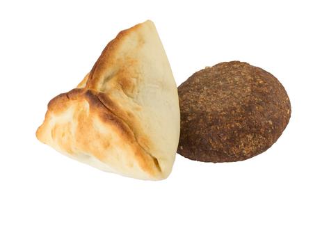 Arabic esfiha and kibbeh  isolated on white background. Manakish
