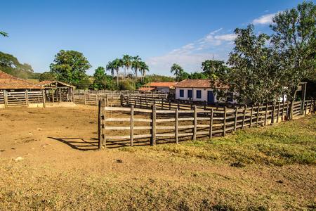 ranch background: Corral. Brazilian Farm in Pirenopolis, Goias, Brazil