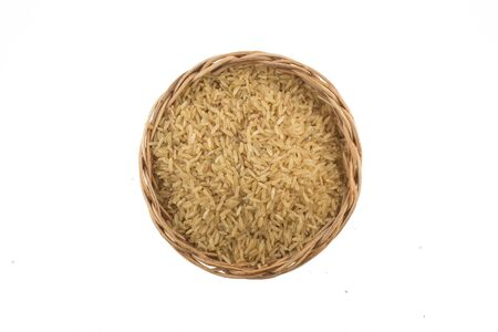 Integral Wholegrain rice into a bowl isolated on white background Imagens