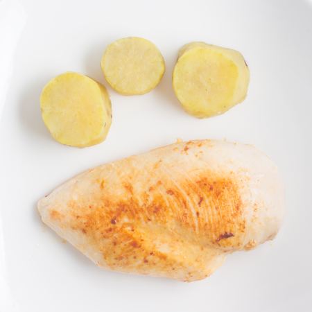 Chicken Fillet with sweet potato on white background