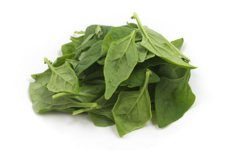 Pile of Brazilian Spinach. Spinacia oleracea over a white background Banque d'images