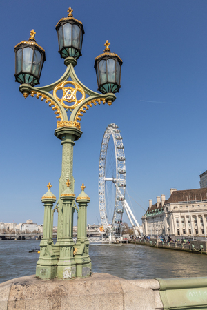 London eye with a beautiful blue sky in England