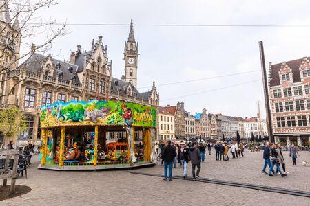 Ghent, Belgium - APRIL 6, 2019: Square in the center of Ghent, Belgium
