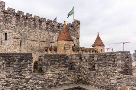 Ghent, Belgium - APRIL 6, 2019: Gravensteen. Details inside the castle. Medieval castle at Ghent, Belgium