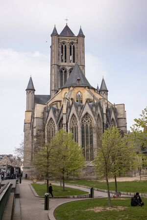 Saint Nicholas Church in the historical medieval city Ghent, Belgium, Europe 報道画像