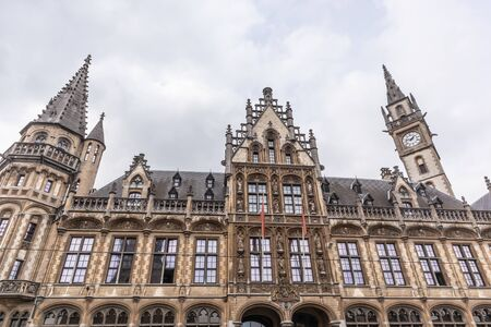 Ghent, Belgium - APRIL 6, 2019: View of the Old post office building im Ghent, Belgium