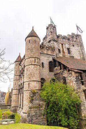Ghent, Belgium - APRIL 6, 2019: Gravensteen. Medieval castle at Ghent, Belgium 報道画像