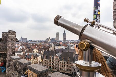 Ghent, Belgium - APRIL 6, 2019: View from the top of the city Ghent. Belgium