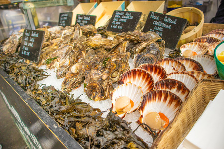 Seafood in the Borough Market, London, England
