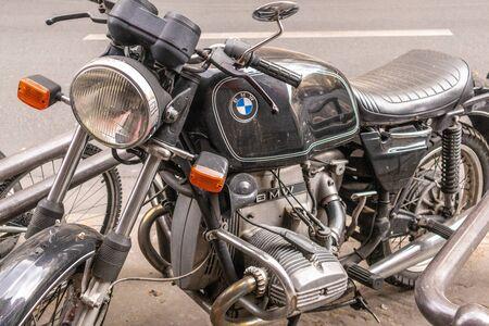 Paris, France - APRIL 8, 2019: BMW old motorcycle in Paris, France, Europe