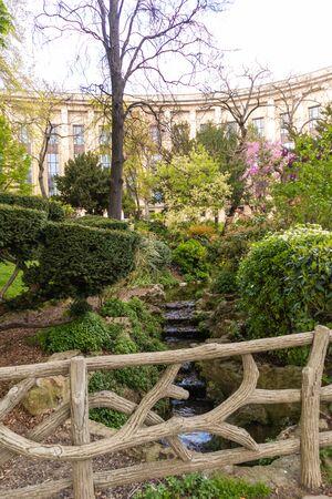 Paris, France - APRIL 9, 2019: Garden near the eifel tower, Paris, France