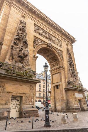 Paris, France - APRIL 9, 2019: City architecture details. Cozy Street. Cityscape of Paris, France 報道画像