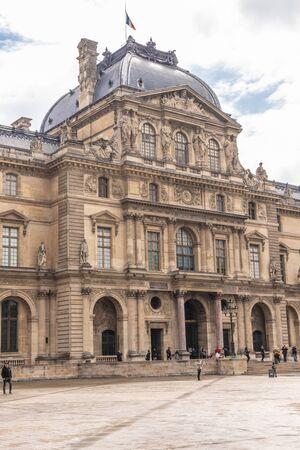 Paris, France - APRIL 9, 2019: Old Building near the Louvre, Paris, France 報道画像