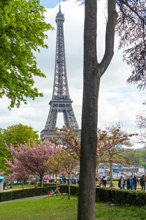 Paris, France - APRIL 9, 2019: Eifel tower seen from a different angle, Paris, France