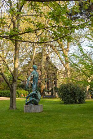 Paris, France - APRIL 9, 2019: Luxembourg Garden. Beatiful Tulips. Paris, France, Europe Editorial