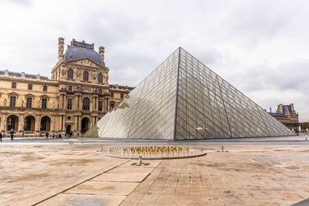 Paris, France - APRIL 9, 2019: Alternative angles of the Louvre Museum, Paris, France
