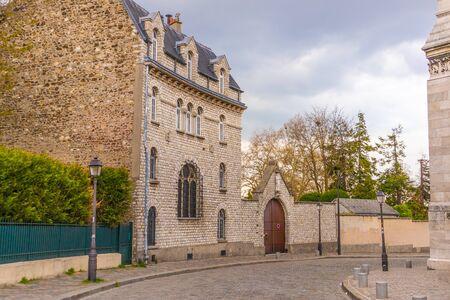Paris, France - APRIL 8, 2019: City architecture details. Cozy Street. Cityscape of Paris, France 写真素材 - 133706851
