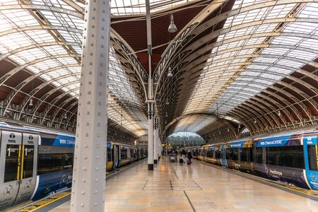 London, England - APRIL 1, 2019: Interior architecture of Paddington Train station in London, UK