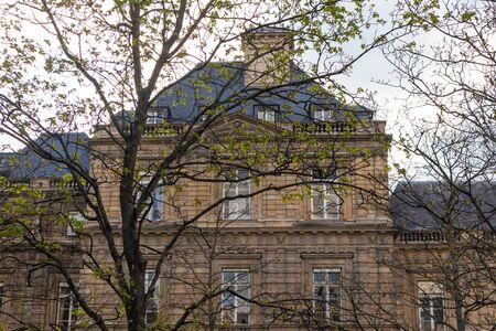 Paris, France - APRIL 9, 2019: Luxembourg Garden. Beatiful Tulips. Paris, France, Europe