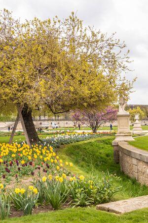 Paris, France - APRIL 9, 2019: Cozy Garden in Paris. France, Europe