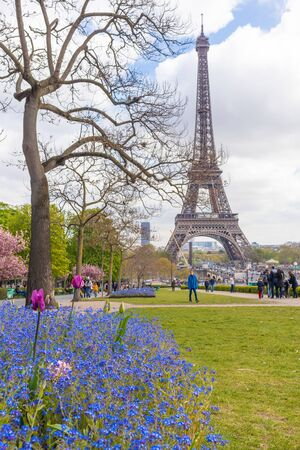 Paris, France - APRIL 9, 2019: Eifel tower seen from a different angle, Paris, France 写真素材 - 133706878
