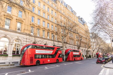 London, England - APRIL 1, 2019: Red Double Decker Bus in London, UK