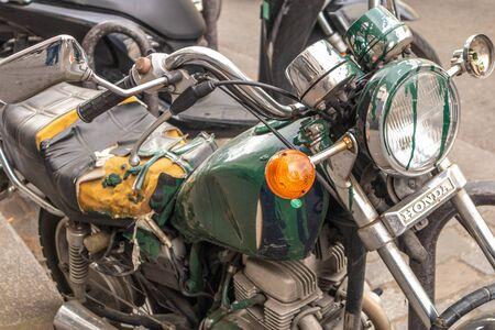 Paris, France - APRIL 8, 2019: Honda old motorcycle in Paris, France, Europe 写真素材 - 133706890