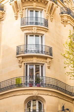 Paris, France - APRIL 8, 2019: Details of the architecture and facade of a building in Paris, France. 報道画像