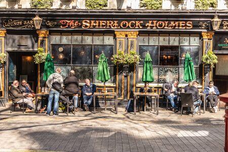 London, England - APRIL 1, 2019: Typical British pub in London, UK