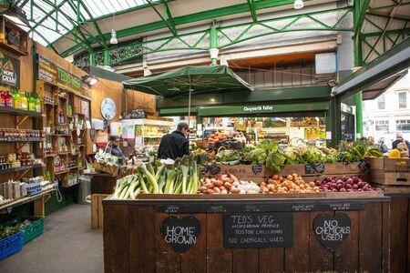 London, England - APRIL 2, 2019:Stalls at the Borough Market in Southwark, London, UK