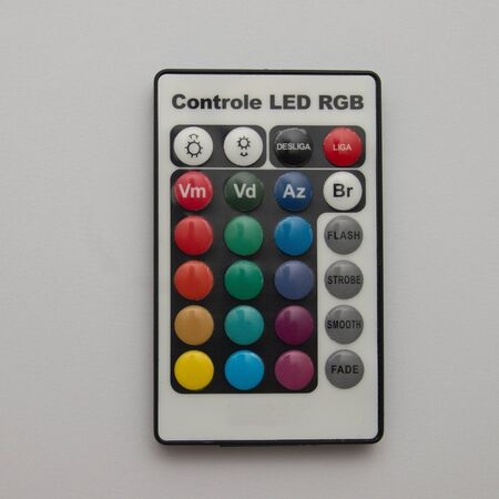 RGB Led Remote Control on white background Archivio Fotografico