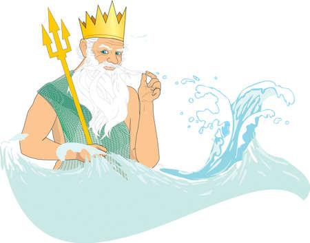 greybeard: Nettuno (Poseidone) in mare Vettoriali
