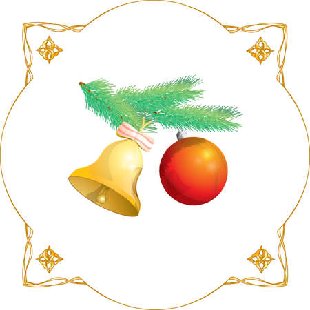 protestant: christmas fir-tree toys ball and bell Illustration