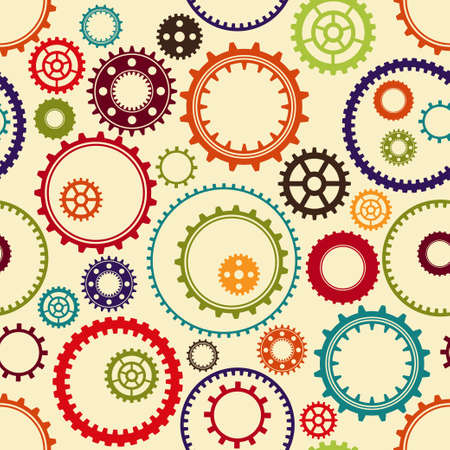 gearings: Gear pattern background in different colors Illustration