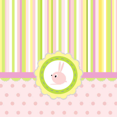 pastel colored: Greeting card with stripes, dots and rabbit