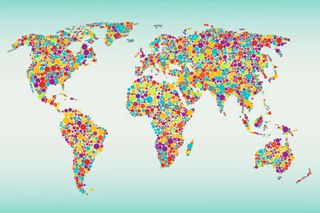Multicolored dots world map  Easy colors change Vector