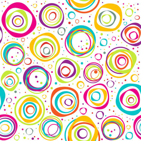 geometric: Seamless pattern with multicolored circles and dots on white background