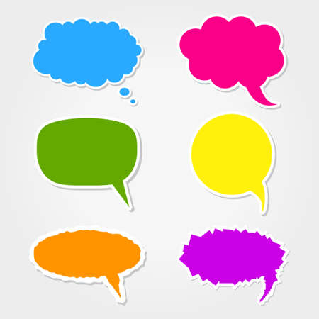 thinking bubble: Collection of 6 colorful speech bubbles icons