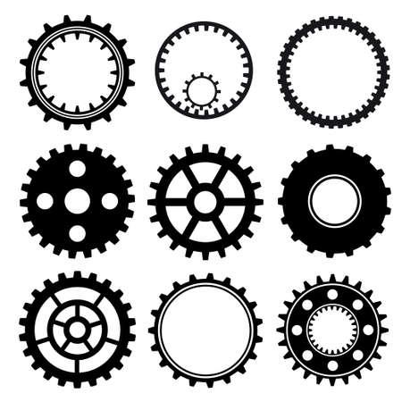 Set of industrial gear wheel vector